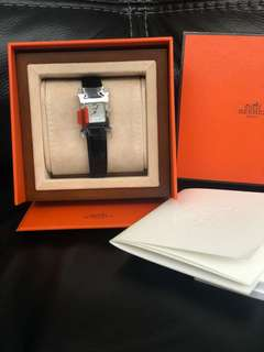 Hermes H Hour PM size index dia watch black croco strap