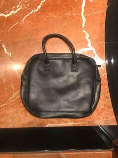 Black leather computer and documents bag