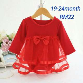 Red party romper long sleeve dress tutu ribbon bow jersey