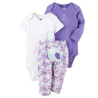BN 6m/9m Carters 3pcs Bodysuits Pant Set Purple Bird