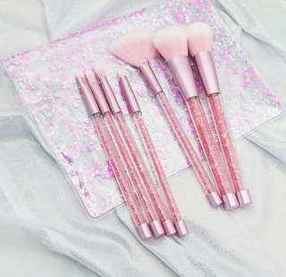 Pink Crystal Brush Set isi 7pcs
