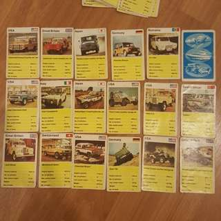 Vintage Top Trumps Vehicle Cards - Jeeps and Wagons - Extremely Rare not Hot Wheels