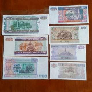 全新:緬甸紙幣🖐👉共7張👈