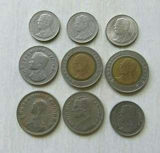 Thailand 9 Pcs Assorted Coins