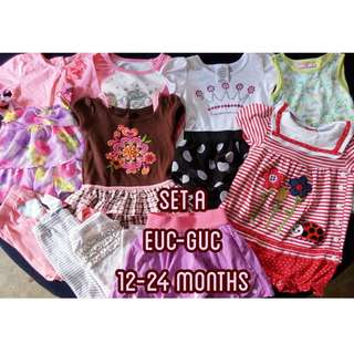 SET A Preloved Branded Baby girl clothes dress leggings blouse 12-24 months
