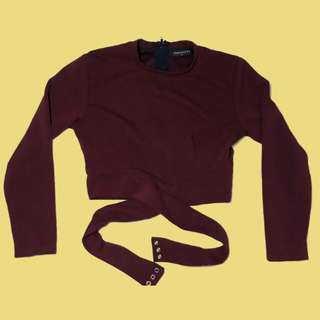 Penshoppe maroon crop top
