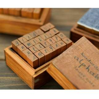 Wooden alphabet stamp