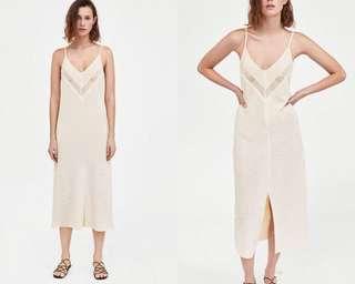 🚚 OshareGirl 04 西班牙單純色V型透視蕾絲細肩帶洋裝