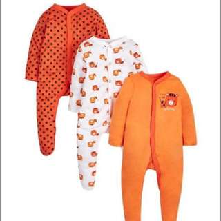 Set of 3 - mothercare long sleeve full footed pjs