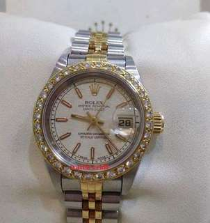 Used Rolex 69173 Ladies Beige Computerize Index Dial With Custom Made Diamond Bezel