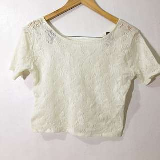 White Lacey Crop Top