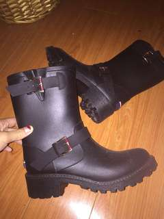 Authentic Tommy Hilfiger high black gumboots