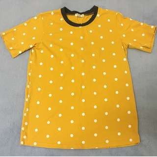 復古 古著 芥黃 點點 短袖上衣