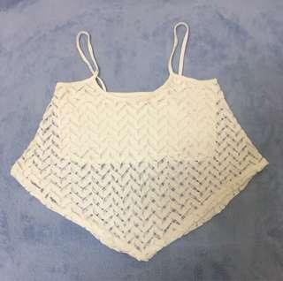 歐美bershka corp白色短版鏤空 背心 無袖 上衣