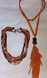 Leather and multi chain necklaces