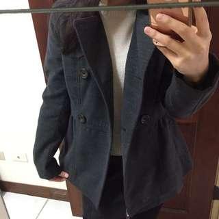 H&M 歐美 深灰 雙排扣 收腰 大衣