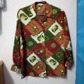 古著 🚂 蒸汽時代  紅綠復古色調襯衫