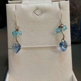 🚚 水藍之心耳勾式耳環