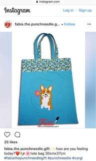 Handmade embroidery tote bag 30cmx37cm