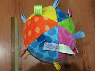 Baby large plush ball with taggies and bell