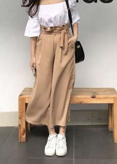 Preloved khaki / light camel wide legs bow culottes