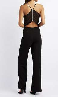 Charlotte & russe back lace black jumpsuit
