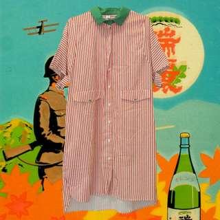 (免運)特殊蕃茄直條紋洋裝