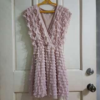 Pink ruffles v neck dress