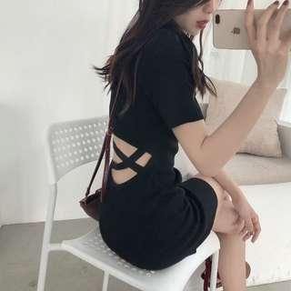 針織露背連衣裙