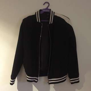 F21 jacket with faux leather stripes