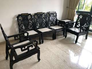 Antique set of furniture of chairs and coffee table
