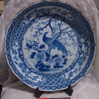 Vintage Blue and White Peacock Design Big Wall Plate