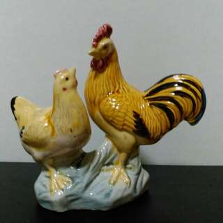 Vintage Chinese Hen and Rooster figurines.