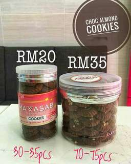 Choc almond cookies by sabrina bakery
