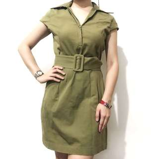 Classy Corporate Dress Stylish in Army Green Olive color bought in Los Angeles excellent quality size xs-s