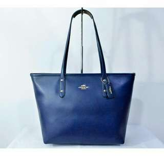 FREE SHIP Coach City Zip Tote Handbag Shoulder Bag in crossgrain leather -blue