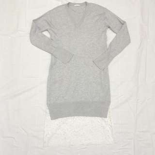 Japanese Brand GU light grey knit dress with lace bottom details
