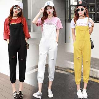 Free Size Cut Off Binding Design Overall Jumpsuit with Tighten Trouses