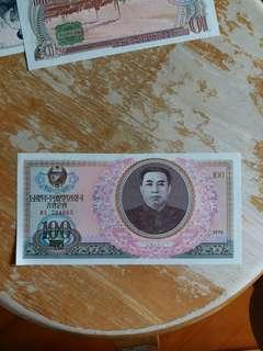 朝鮮纸幣 1978年全新 UNC 100元 (号码隨意)