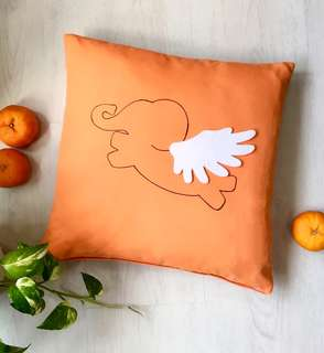 NEW Exclusively Handmade Flying Elephant Orange Cushion Cover. Kids Room Decor