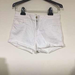 全新H&M白色捲褲 布料有彈性 #36