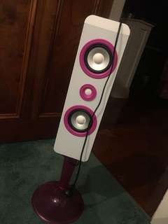 Pink and white Bluetooth speaker