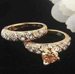 18K Gold Filled Solid Ring 2 pcs Set