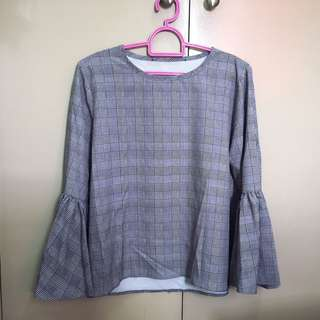 Repriced! Bell Sleeve Gingham Style Top