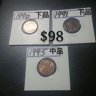 硬幣系列(美金硬幣三枚)