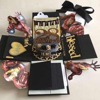 Ironman Explosion box with cake , 4 waterfall