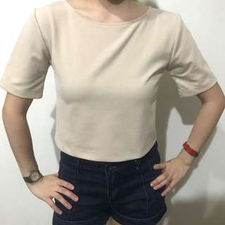 Classy Nudish Tan color semi crop top fits xs-s tiangge bought with a little stitch flaw but not obvious and not a bother when worn rfs gained weight