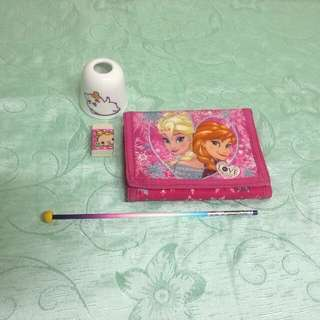 Frozen wallet/pencil/glass pencil stand/ eraser