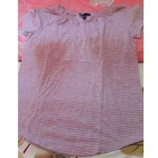GAP Pink ang gray stripes top