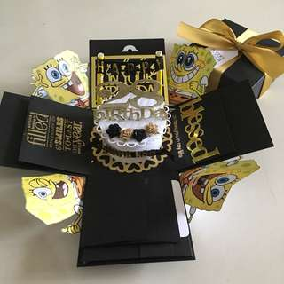 Spongebob explosion box with cake , 4 waterfall in black & gold